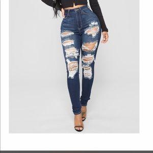 Fashion Nova High Rise Distressed Jeans